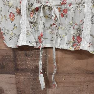 Romy Tops - Romy floral lace semi button semi sheer tank top S